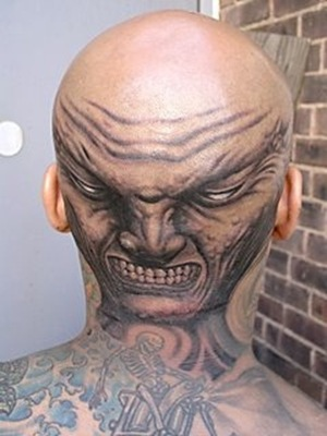 backheadangrymantattoo Image via Quinacridone
