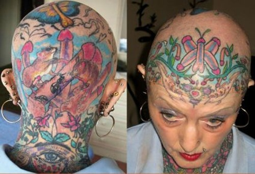 Strange Tattoo on Woman's Head